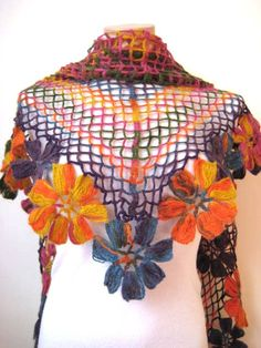 Colorful Flower Shawl - Orange Blue Yellow Purple and Pink Floral