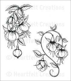 Heartfelt Creations Fuchsia Clusters Cling Stamp Set