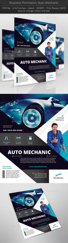 Business Promotion: Auto Mechanic Flyer Template PSD #design Download: http://graphicriver.net/item/business-promotion-auto-mechanic/13422070?ref=ksioks