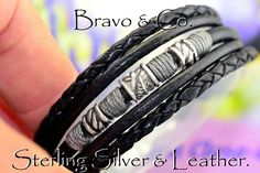 1B-080 Solid Sterling Silver & Leather Feather New Wristband Bangle Men Bracelet