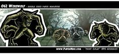 This double sided paper miniature along with hundreds more templates available on my patreon. Werewolf, Dungeons And Dragons, Miniatures, Templates, Paper, Rpg, Stencils, Vorlage, Minis