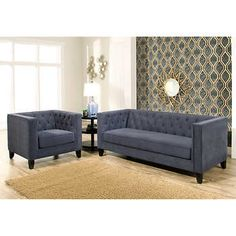 ravishing costco living room sets. Albany Fabric Set BlueSofa and ChairHand stitched Tufted Pattern on Back  Cushion Inside ArmsWooden Legs in Espresso Brown StainBy Abbyson Saint Rhean Chairs 2 pack t r e Pinterest