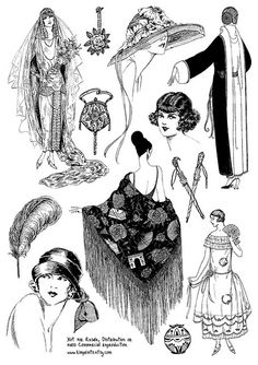 1920s Vintage Fashion Illustration Collage Sheet
