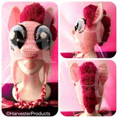 This is my friend Teresa's work! Shes SOOOO INCREDIBLY TALENTED!! There are no words to describe it!! My Little Pony Pinkie Pie styled hat Custom crocheted design by Harvester Products