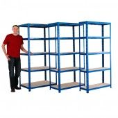 Value shelving available in 3 depths, 300mm, 450mm, and 600mm, blue design with chipboard decks, great value storage for home and workshop use.