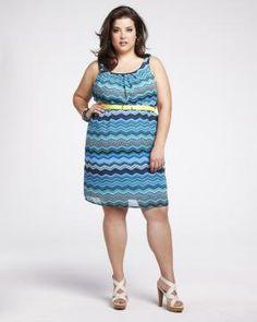 striped chiffon dress with belt | Shop Online at Addition Elle Addition Elle, plus size, fashion, trends, summer essential