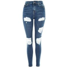 Topshop Moto Indigo Super Ripped Jamie Jeans (€54) ❤ liked on Polyvore featuring jeans, pants, high-waisted jeans, skinny jeans, blue ripped skinny jeans, high-waisted skinny jeans and blue jeans