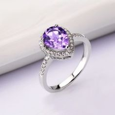 New Fashion Amethyst Water-drop Cubic Zirconia 925 Sterling Silver Plated 18K White Gold Women's Ring