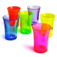 Neon Plastic (polystyrene) Shot Glasses – 24 per set. 35 ml. These plastic shot glasses glow under UV light and make everyone want a shot. Order at 687 5066