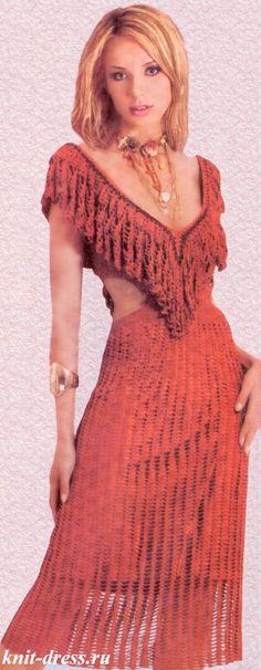 Платье с воланом крючком