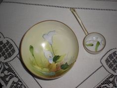 Handpainted Antique/Vintage 3-Footed Mayonnaise Bowl w/Ladle, Green Crown Nippon #Nippon
