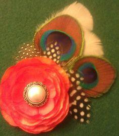 Orange orange flower peacock peacock feather by msformaldehyde, $20.00