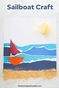 This summer paper sailboat craft is so fun to make! Kids will love making their own paper boats and 3D suns. The ocean paper strips are great for reusing old paper strips. Summer Crafts for Kids, beach crafts, boat crafts... this includes it all! #bestideasforkids #summer #summercraft #kidscraft #boatcraft #beachcraft #summerideas #kidsfun #papercrafts #craftsforkids via @bestideaskids