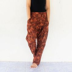 brown flowers harem pants hand weave by meatballtheory on Etsy