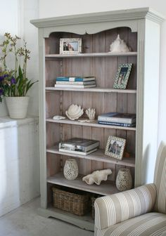 regular bookcase with added molding and chalk paint
