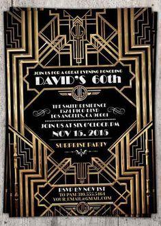 Great Gatsby wedding shower invitation, Hollywood film theme, birthday party invite Black and gold glam printable digital invite, bridal Great Gatsby Party, Great Gatsby Invitation, Invitation Wording, Invitation Ideas, 20s Party, Invitation Templates, Shower Invitation, Card Templates, Invitation Design