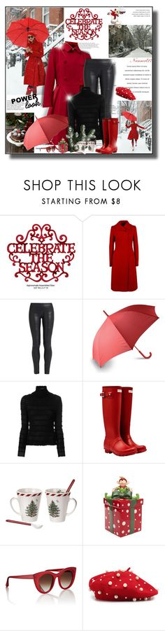 """Celebrate the season..."" by nannerl27forever ❤ liked on Polyvore featuring Dolce&Gabbana, The Row, LEXON, Valentino, Hunter, Spode, Thierry Lasry, Winter, girlpower and powerlook"