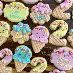 Ice cream Cookies - Bake Cenla Pretty - Ice cream Cookies Ice cream party birthday for girl decorated sugar cookies pastels - 2nd Birthday Party For Girl, Birthday Treats, Birthday Cookies, Party Treats, Party Snacks, 4th Birthday, Ice Cream Cookies, Iced Cookies, Sugar Cookies