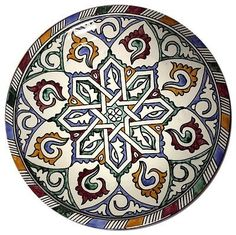 """This magnificent Pasta Bowl Plate in Traditional moroccan design pattern in multicolor mediterranean - handpainted one-of-a-kind the plate is a unique hand painted piece measures 12"""" Inches Pottery of"""