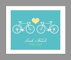 Digital Download Personalized Wedding Gift  Bike Typography Name Print - Bridal Shower GIft - Anniversary - 8x10 11x14