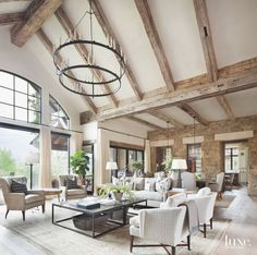 Neutral tones define this gorgeous contemporary rustic living room designed by Katy Allen Interior Design kathykuohome interiordesign livingroom homedecor ighome instahome rustic love Spacious Living Room, Home Living Room, Living Room Designs, Rustic Modern Living Room, Modern Rustic Decor, Modern Rustic Interiors, Modern Family, Rustic Contemporary, Contemporary Interior