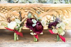 Burgundy wine shades for a Marsala colored wedding. Aren't these gorgeous?!?! More of this Style Me Pretty feature of ours on our website Photography: Breanna McKendrick  San Antonio weddings / San Antonio flowers  Flowers by Flower Shack Blooms