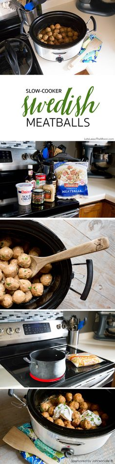 Slow-Cooker Swedish Meatballs  Recipe: Nothing beats the smell of meatballs in the crock pot smothered  in a homemade, creamy gravy sauce. These taste much better than the  one's they serve at IKEA. *This recipe is so simple and perfect solution  when having a large group of guests over!
