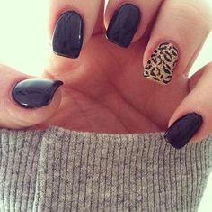 Black and leopard nail art
