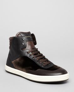 e4a1aa7fc18 Salvatore Ferragamo Palestro High Top Sneakers Add some luxury to your  off-duty looks with these velvet and leather high tops by Salvatore  Ferragamo.