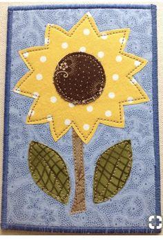 Mug Rug Patterns, Applique Patterns, Applique Designs, Quilt Patterns, Sunflower Quilts, Sunflower Cards, Sunflower Template, Fabric Postcards, Fabric Cards