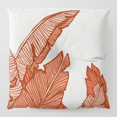 Hand-drawn banana leaves, turn into a red vector illustration on vintage pattern background. From ink pen hand drawing by DesigndN. Inspired by my granny's living room.