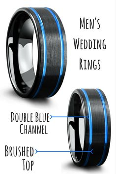 Mens black modern wedding ring with double carved ocean blue channels. I finally found a unique mens wedding ring!