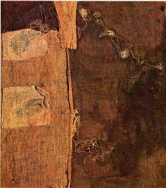 Sacco by Alberto Burri, 1953  Mixed media using sackcloth and hand stitching