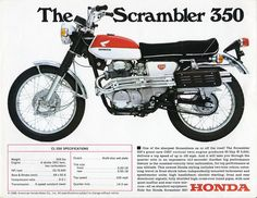 Of all of the big four Japanese motorcycle manufacturers, it is perhaps Honda that is the most closely associated with the scrambler genre - they were building scramblers from the mid-to-late with much success in Japan, North America and Europe. Honda Scrambler, Motos Honda, Cb350 Cafe Racer, Cafe Racer Honda, Honda Bikes, Yamaha, Honda Cb, Honda Motorbikes, Cafe Racers