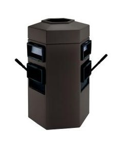 35 Gallon Double Sided Gas Station Outdoor Trash Can Auto Attendant