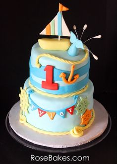 Nautical Themed Birthday Cake with Sailboat Topper