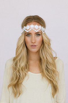 Bridal Wedding Headband with Lace Scallop Vintage Style Head Piece Lace Beautiful Scallop by ThreeBirdNest, $46.99