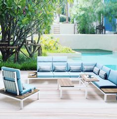 Exclusive to Osmen Furniture. Contemporary modular lounge with Ocean blue cushion on sleek clean aluminium frame with responsibly produced teak feature. Buy now online. Aluminium Garden Furniture, Rattan Outdoor Furniture, Outdoor Sofa Sets, Outdoor Decor, Outdoor Sectional, Sectional Furniture, Lounge Furniture, Sectional Sofa, Modern Furniture
