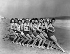 How was the popular woman's swimsuit, the bikini, invented and named? Learn about two-piece swimsuits and why they are named for Bikini Atoll. Vintage Love, Vintage Beauty, Vintage Ladies, Vintage Fashion, 1930s Fashion, Fashion Men, Vintage Bathing Suits, Vintage Swimsuits, Frases Good Vibes