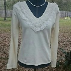 Cream Carducci Sweater Pretty long sleeve off white sweater with lace and bead embellishments around the neck. Nice stretch. Cute lace accent on bottom of sleeve. Very pretty. Carducci  Sweaters