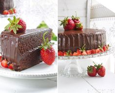 Chocolate cake with nougat and chocolate glaze with Norwegian strawberries