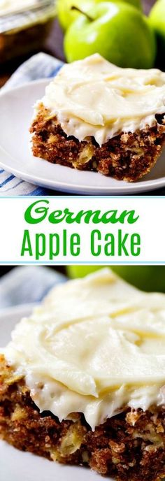 Apple Cake German Apple Cake covered in a thick layer of cream cheese frosting.German Apple Cake covered in a thick layer of cream cheese frosting. Apple Desserts, Köstliche Desserts, Delicious Desserts, Yummy Food, Health Desserts, Apple Cake Recipes, Baking Recipes, Healthy Recipes, Apple Cakes