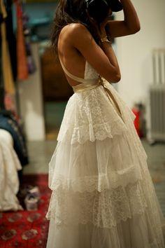 REWORKED VINTAGE WEDDING DRESS (HAD PUFFED SLEEVES ORIGINALLY) karenbritchick