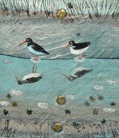 Oystercatcher Reflections. Mixed Media. 25x29cms. Ingeborg Smith. £420 Artist Profile, Hyde, Folk Art, Original Art, Mixed Media, Illustration Art, Birds, Gallery, Painting