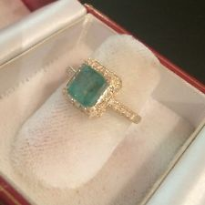 ESTATE 2.09CT  NATURAL EMERALD AND DIAMOND RING IN 10K YELLOW GOLD