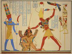 """Ramsès II saisissant un groupe de prisonniers, d'après """"Monuments de l'Égypte et de la Nubie"""" par Jean-François Champollion."""