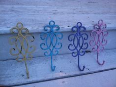 Wall Hook, Wall Hanger, Swirl Wall Hook - PiCK yoUR COLoR. $7.95, via Etsy.