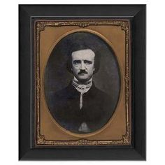 "Vintage-style framed giclee print of Edgar Allen Poe. Made in the USA.  Product: Wall artConstruction Material: Paper, glass, wood, and metalColor: Black frameFeatures:  Made in the USAPortrait of Edgar Allen Poe Dimensions: 9.5"" H x 7.75"" W x 1.13"" D"
