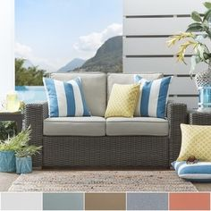 Shop for Barbados Wicker Outdoor Cushioned Grey Charcoal Loveseat with Square Arm by NAPA LIVING. Get free delivery at Overstock.com - Your Online Garden