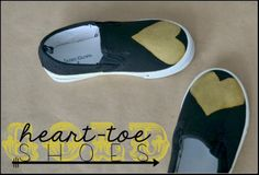 Gold heart-toe shoes